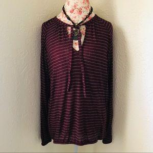 Lucky Brand Burgundy Striped Blouse